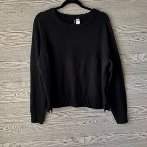 H&M Black Knit Sweater With Side Slits